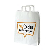 Papieren tas met eigen logo / plat handvat