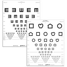 Visuskaart LEA symbolen en E-haken, wit (3 meter)